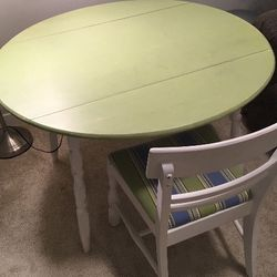 Antique Folding Dining Table or Office Desk and 2 Chairs Thumbnail