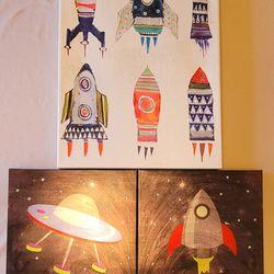 Decor Boys Prints Pictures Rocket Space Art Thumbnail