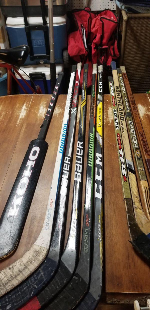 6 Senior LH hockey sticks, 4 junior RH hockey sticks for Sale in MERRIONETT  PK, IL - OfferUp