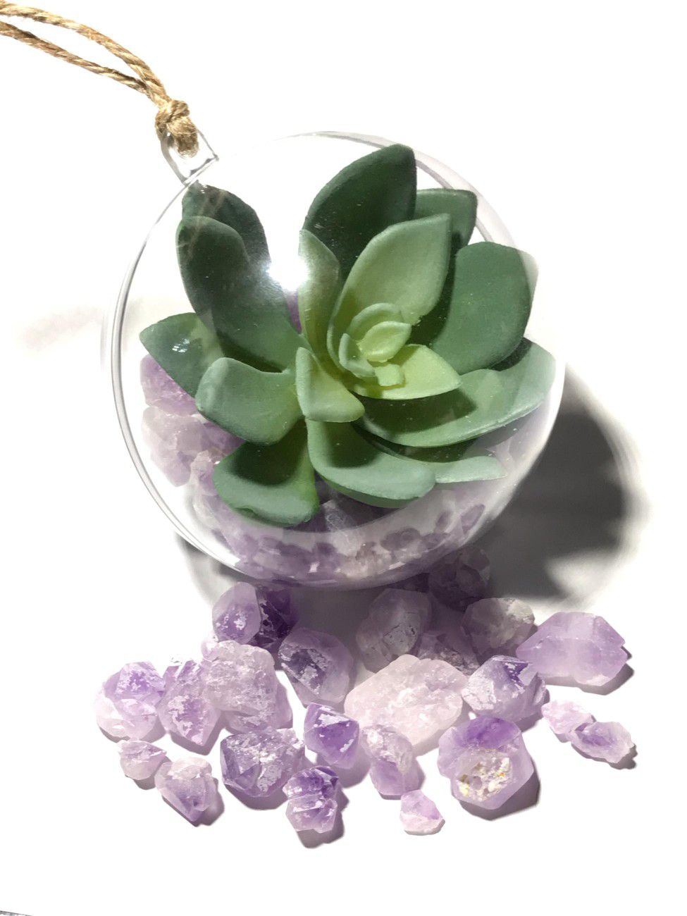 Vehicle mirror hanging decor with amethyst and artificial succulent