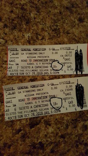Vendo estos ticket del concierto privado de karol g y reykon que será el 28 de octubre for Sale in Riverdale Park, MD