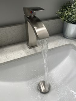 Two - Brushed Nickel Waterfall Faucets Thumbnail