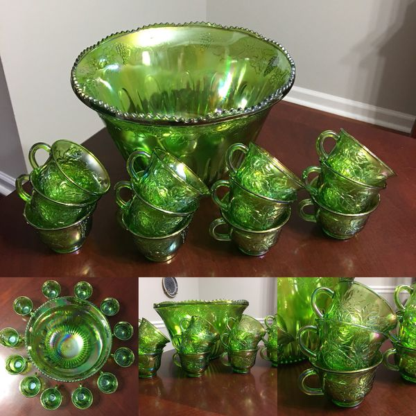 Indiana Glass Company Green Carnival Glass Punch Bowl And Glasses