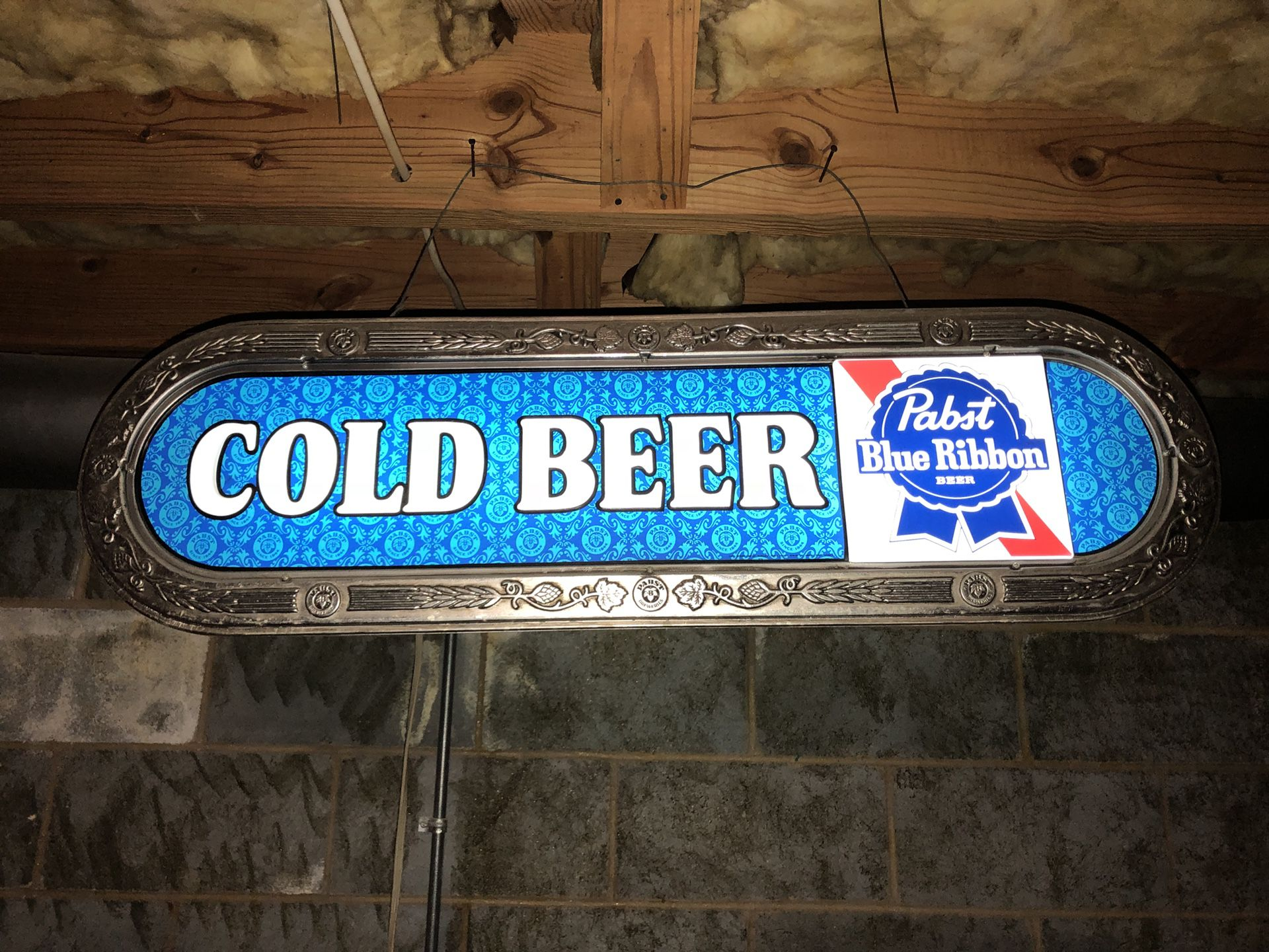 """1970's Pabst Blue Ribbon """"Cold Beer"""" Lighted sign bar"""