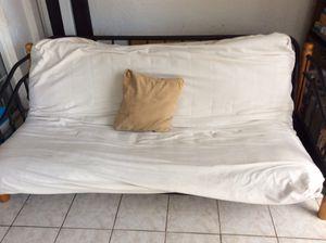 Futon bed (full size) sand color cover over black cloth for Sale in Boca Raton, FL