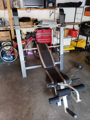 Olympic weights, weight bench, ez curl bar.. for Sale in Burnsville, MN
