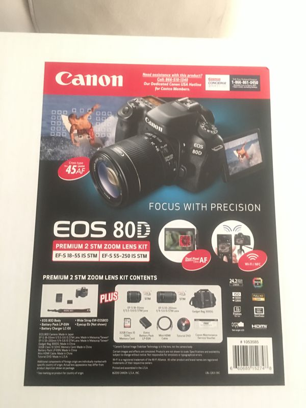 Canon EOS 80D DSLR Camera 2 Lens Bundle (brand new in box) for Sale in  Hayward, CA - OfferUp