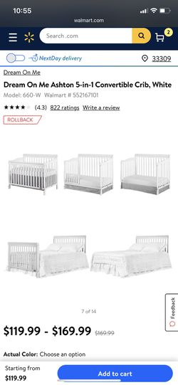 Crib converts to full bed or todler bed needs paibt has biting on one rail Thumbnail