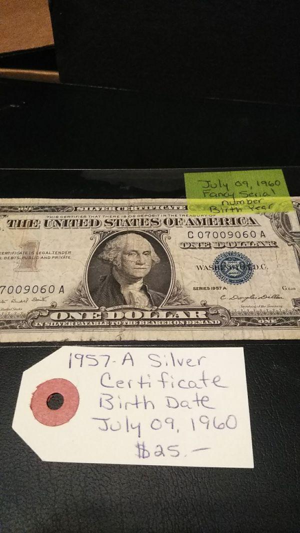 1957 A Silver Certificate Birthdate For Sale In Morgan Hill Ca