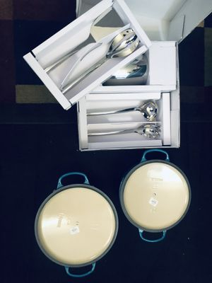 William Sonoma 5piece stainless steal kitchen tool set priced at 119.96$ /Le Creuset 7.25 priced at 380.00$ & Le Creuset 5.5 priced at 330.00$ . for Sale in Baltimore, MD
