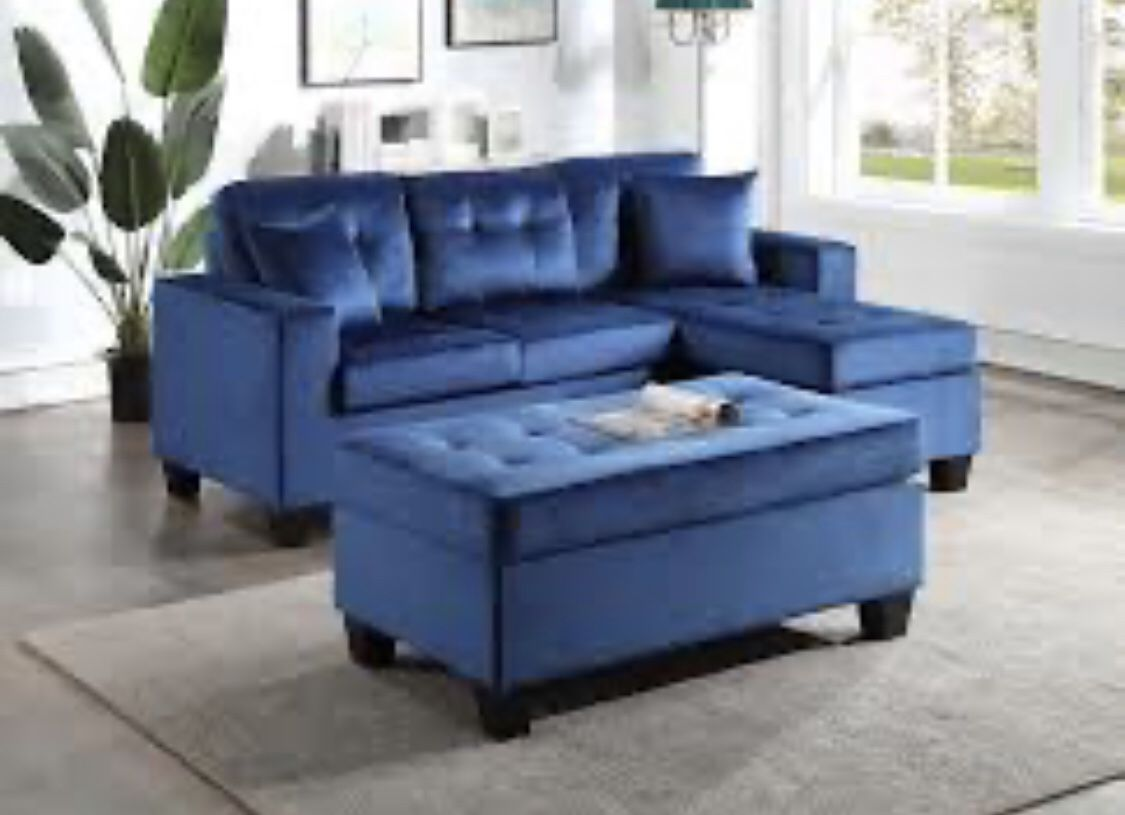 blue sectional and ottoman