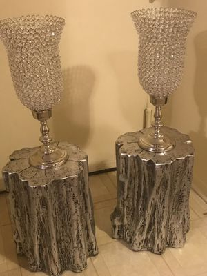 """4 pieces set of 2 cement tables 20"""" with 2 crystal candle holders 27"""" click on my profile picture on this page for more listings for Sale in Gaithersburg, MD"""