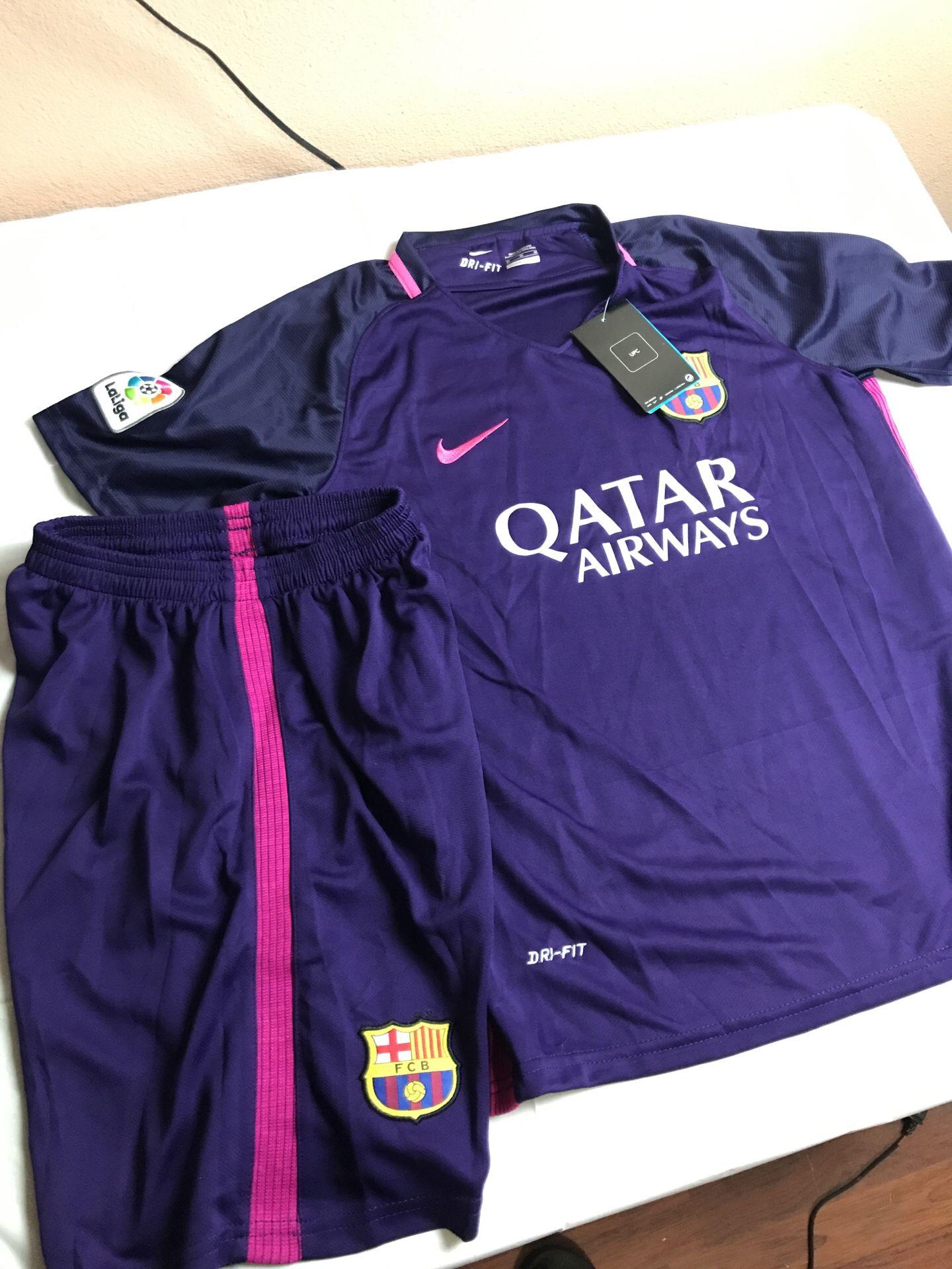 Halloween costume youth medium kids Barcelona soccer uniform