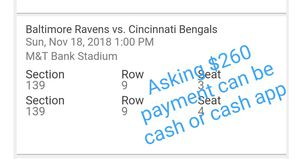 Ravens tickets great seat & price! for Sale in Laurel, MD