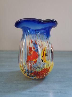 Photo Murano Art Glass Fish Aquarium Vase