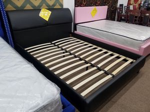 Brand new in stock black color storage headboard queen size platform bed frame only for Sale in Silver Spring, MD