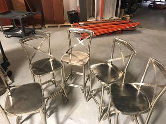 5 bistro chairs silver chrome high back Thumbnail