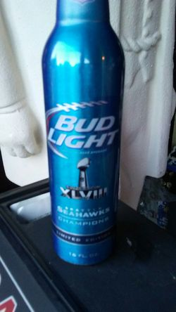 Seattle seahawks bud light aluminum bottle Superbowl. Thumbnail
