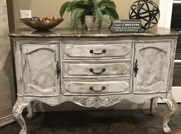 Queen Anne Shabby Chic Buffet Sideboard Media Console White ...