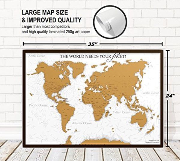 Unique Diamond Scratch Map Large World Map Poster Wall Art - World map posters for sale