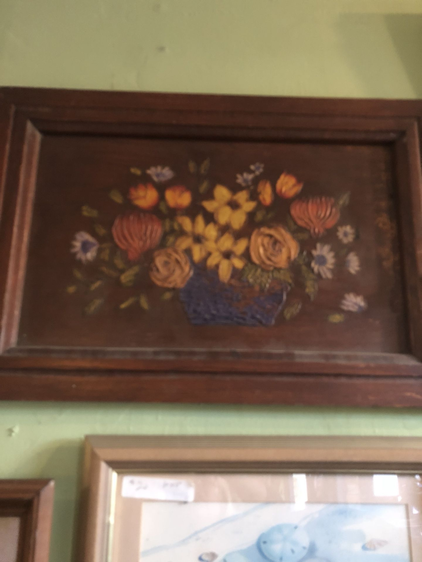 Antique vintage rustic farmhouse wood floral painting wall art