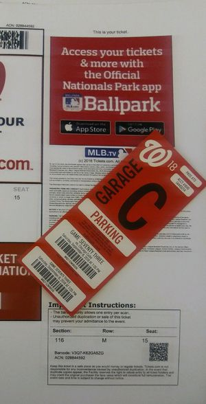 4 Washington Nationals Tickets with free parking for Sale in Washington, DC