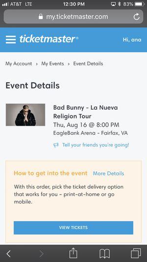 Bad bunny tickets for Sale in Springfield, VA