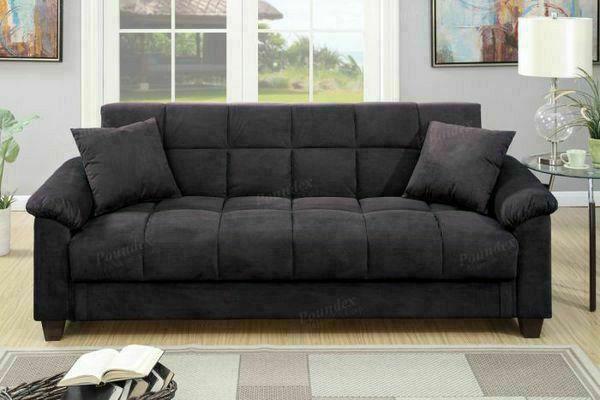 Black Microfiber Couch Sofa Futon Bed