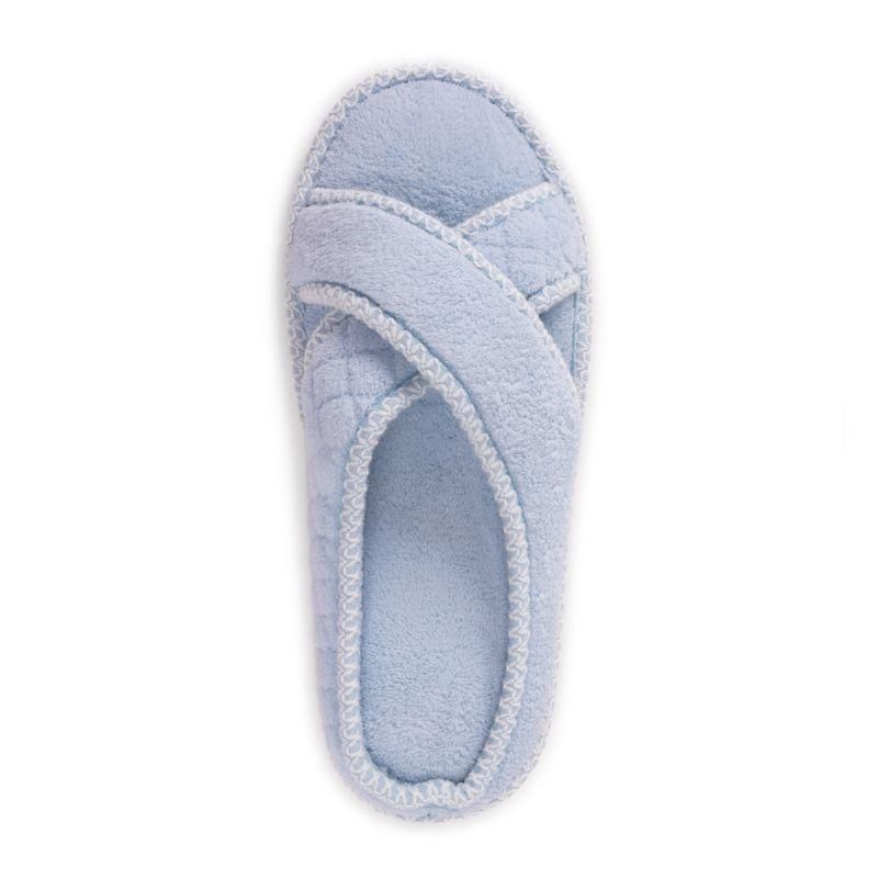 Muk Luks Women's Ada Crossband Slipper, Freesia Blue, L (9-10)