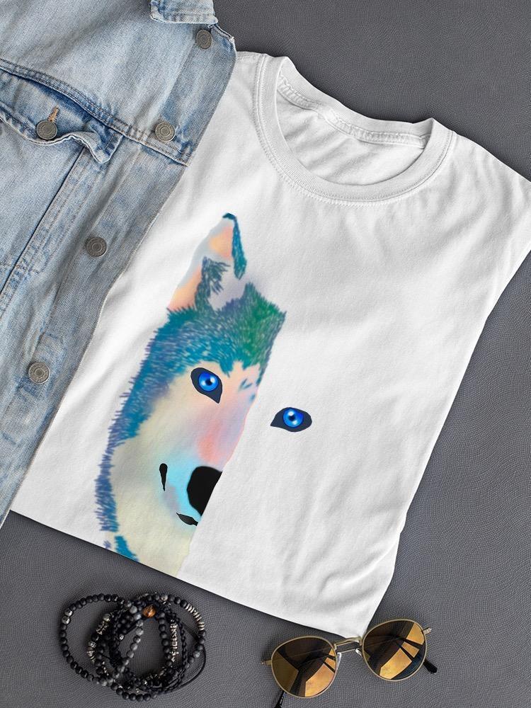 SPIdeals Wolf's Half Face T-shirt Women's -SPIdeals Designs White Size S