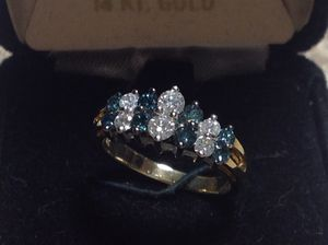 14K Gold Ring with 1.00ct White and Blue Diamonds for Sale in Groveland, FL
