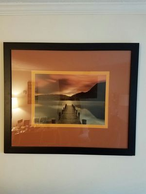 Lake with pier photo with wood frame for Sale in Atlanta, GA