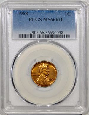 Photo 1968 Lincoln Cent PCGS MS-66 RED