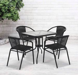 Photo Home Metal/ Glass 5-piece Square Patio Set with Rattan Chairs - Clear Top/Black Rattan