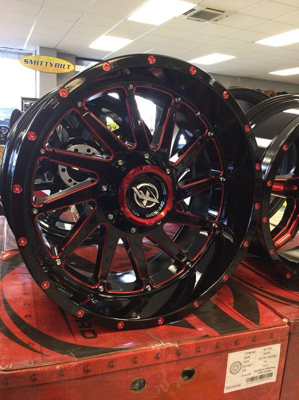 "New 20"" 20x10 XF Off-road 216 Gloss Black RED Rims Wheels ..."
