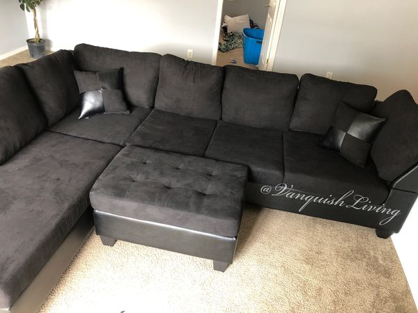 Black Sectional with 2 Pillows and Ottoman - Black Fabric ...