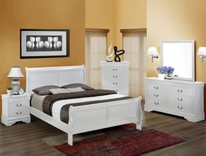 Brand new in stock white color queen-size complete bedroom set for Sale in Hyattsville, MD