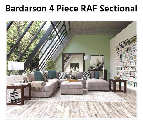 Ashley Furniture Bardarson 4 Piece Silver Grey Sectional