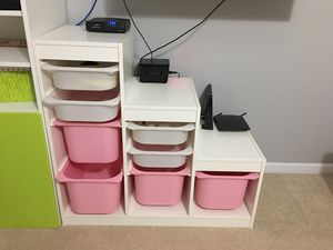 Ikea pyramid shelf with drawer plastic boxes girls pink white for Sale in Broadway, NC