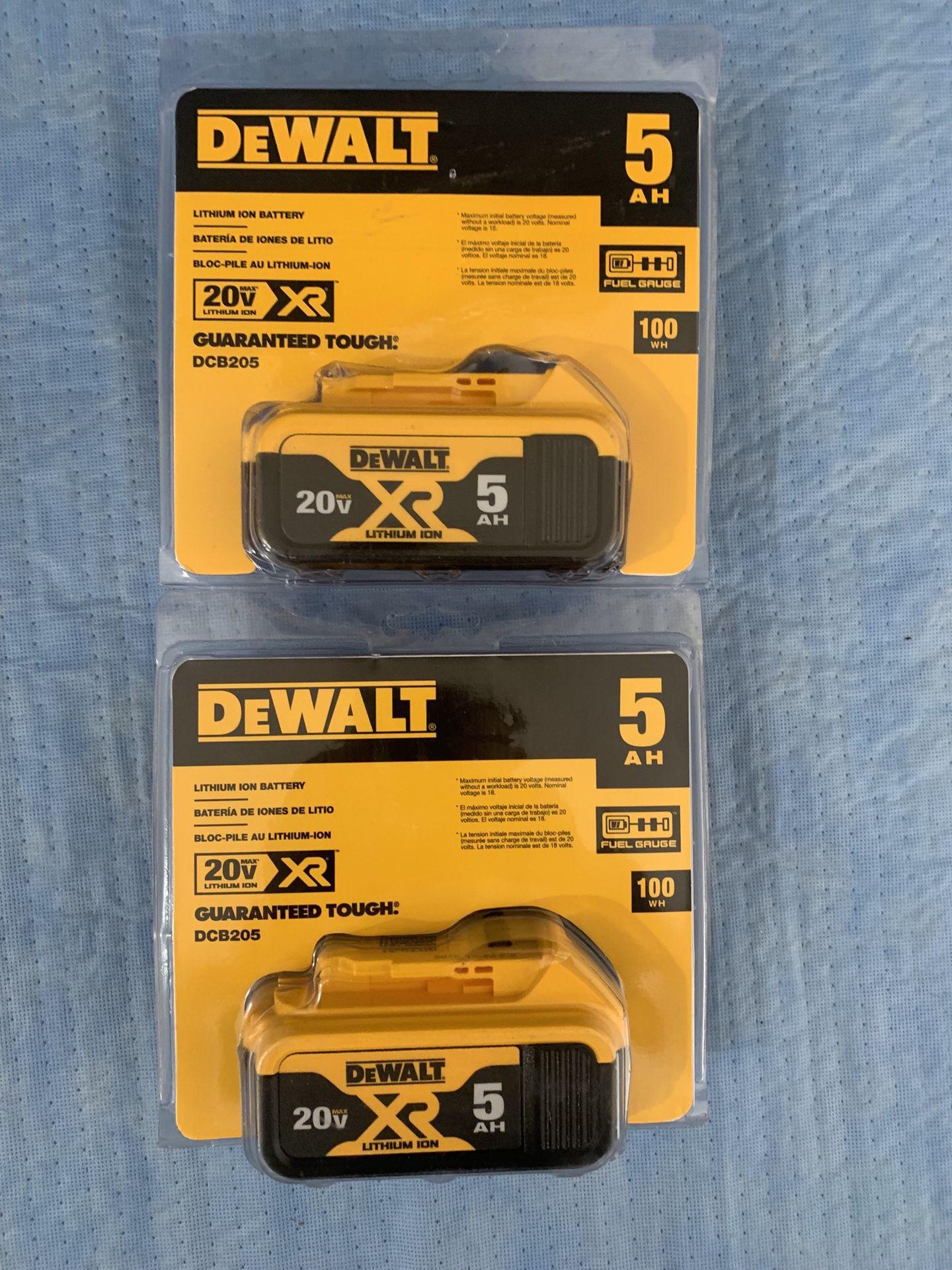 DEWALT 20-Volt MAX XR Lithium-Ion Premium Battery Pack 5.0Ah $55 Each ( 1 )