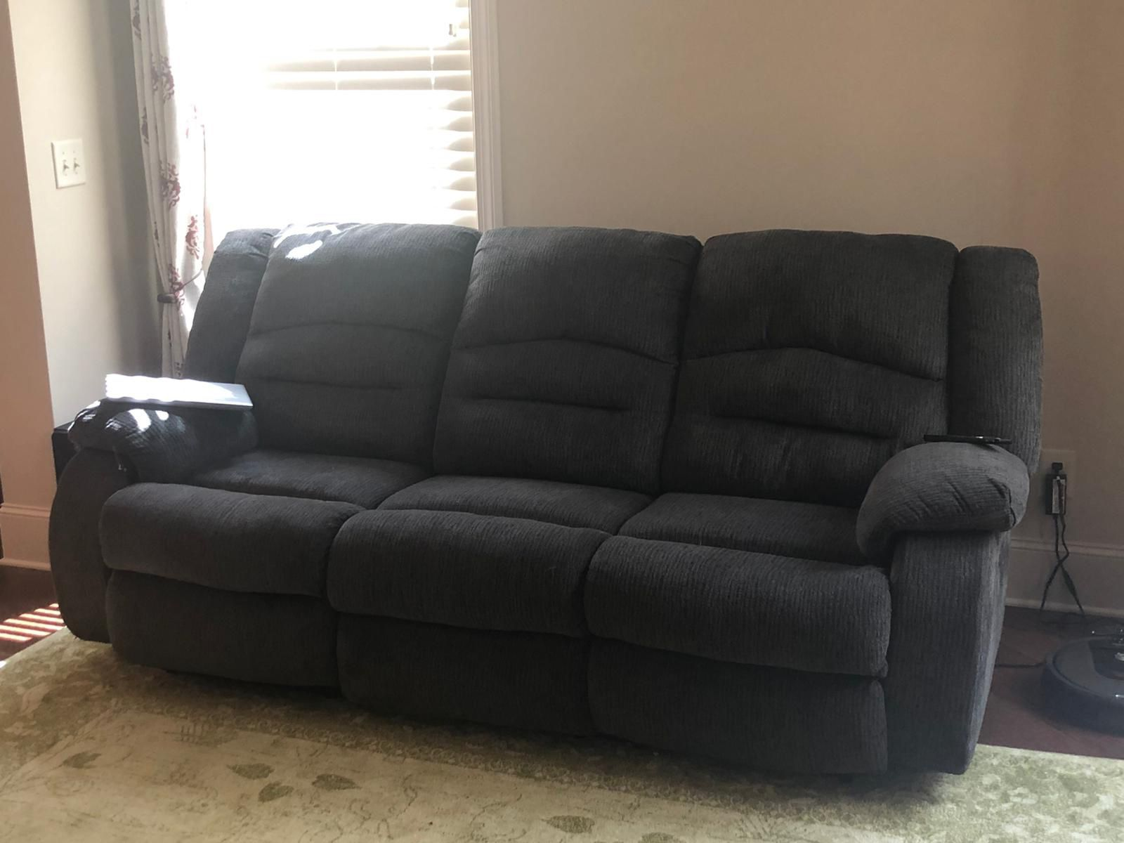 Gray Fabric Power Recliner