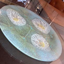 Mint Green Design Glass Plate Thumbnail