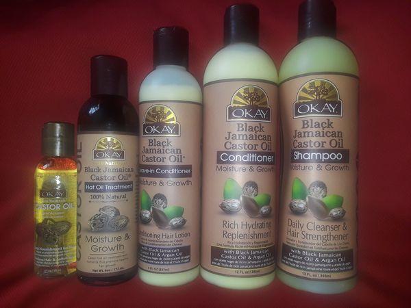 okay jamaican black castro oil shampoo and conditioner set for sale