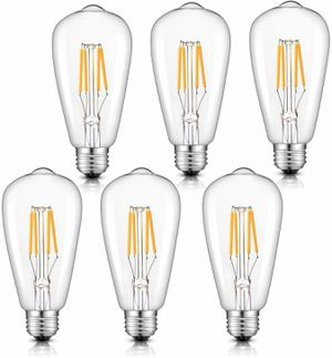 LED Bulbs, 4W 400LM Warm White ST21(ST64) Antique LED FilamentBulb, 40W Incandescent Replacement, Clear Glass, Squirrel Cage E26 Pack of 6 for Sale in New York, NY