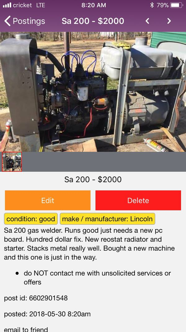 Sa 200 Lincoln welder  for Sale in Liberty, SC - OfferUp