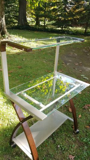 Modern desk 2 tier glass for Sale in Broadview Heights, OH