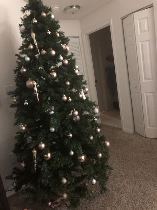 7ft christmas tree with lights 7ft pre 7ft christmas tree with built in lights rose gold ornaments for sale hallandale beach fl offerup