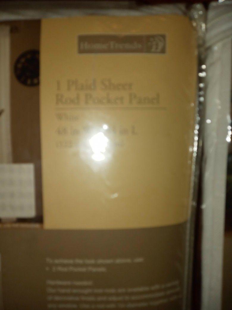 Hometrends Plaid Sheer Rod Pocket Panel
