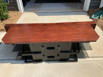 Tv Stand - Wooden + Glass Shelves - Moving Out Sale!!! Thumbnail