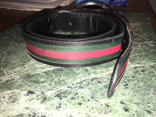 547beb49906 GUCCI Black Leather Green Red Stripe Italy BELT 121282-0959-80-82 for Sale  in Winter Springs